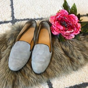J. Crew gray suede leather loafers